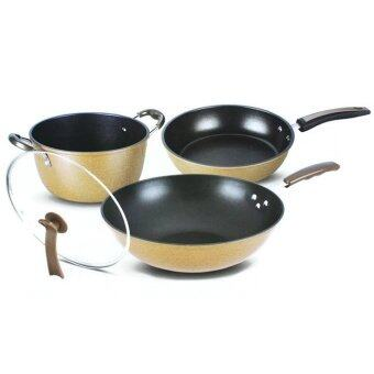 3 in 1 Multi-purpose Non-Stick Ceramic Frying Pan Wok Pot Set (32cm Frying Pan, 26cm Wok, 26cm Pot)