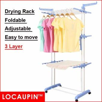 Harga 3 - Tier Locaupin Clothes Hanger Foldable Drying Rack
