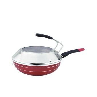 34cm nonstick frying pan with lid red - Non Stick Frying Pan