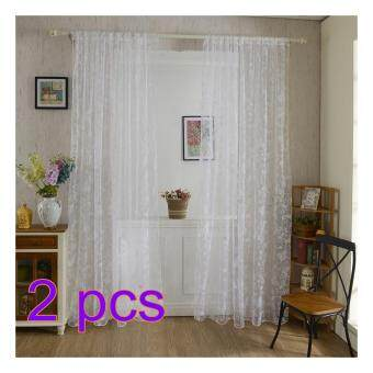 360DSC 2Pcs Butterfly Patterns Flocking Voile Tulle Window Curtain Sheer Window Screening 100*200cm - White