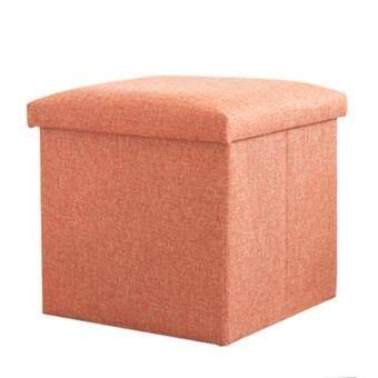 360DSC Multifonction Solid Color Square Folding Storage Box Ottoman Cube Foot Stool Seat 30*30*30cm - Orange