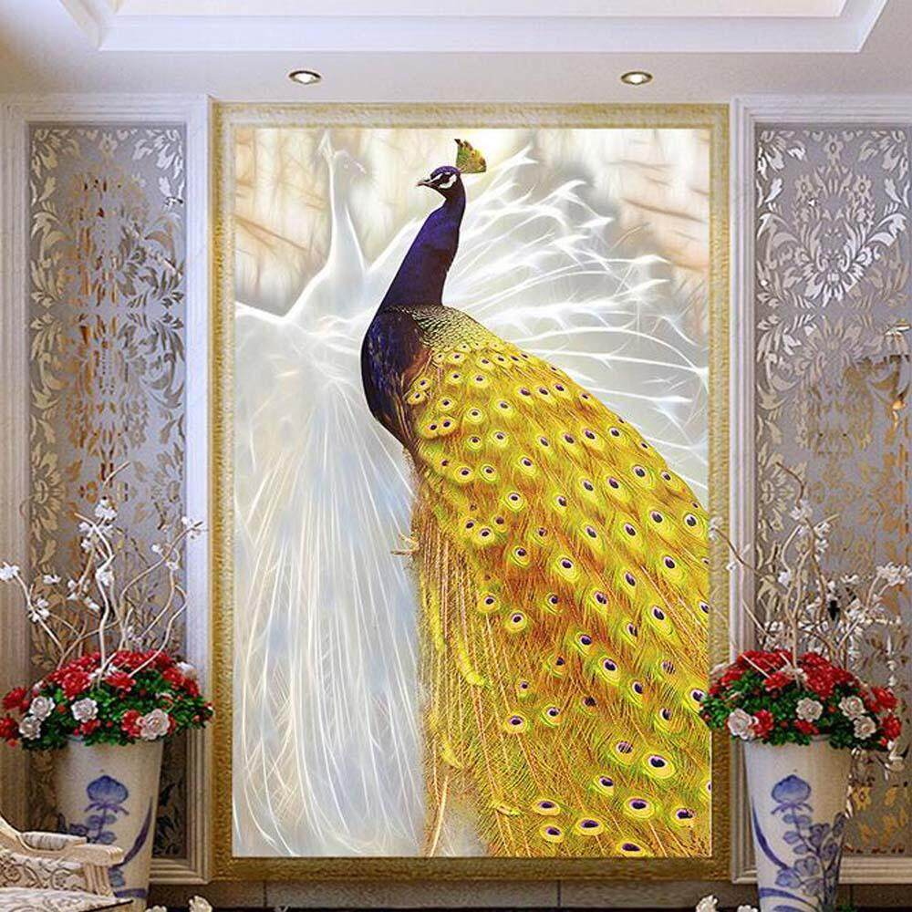 3D Embossed Photo Murals Wallpaper Peacock Entrance For Living RoomTV Background Wall Art Decor Paper