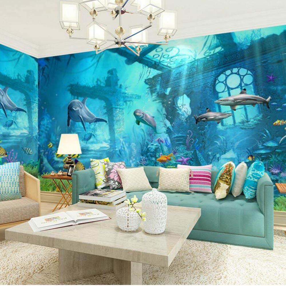 3D Embossed Sea World Fish Photo Wallpapers Murals Wall Paper ForKids Bedroom Living Room Art