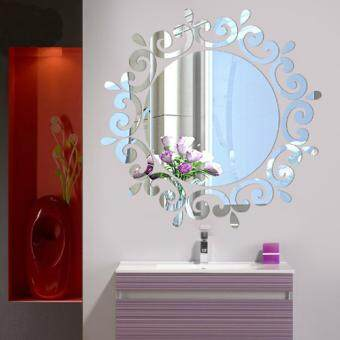 Harga 3D Stereo Decorative Round Flower Mirror Wall Mirror Wall StickersPapers