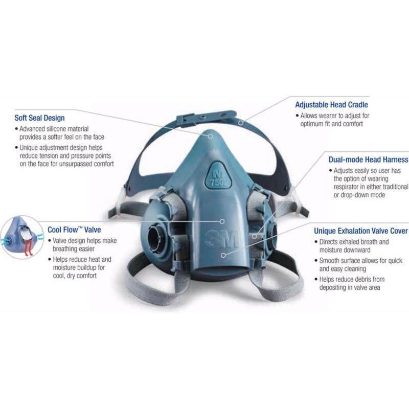 3M Medium Half Facepiece Reusable Respirator 7502, Respiratory Protection