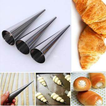 Harga 3pcs DIY Baking Cones Stainless Steel Spiral Baked Croissants TubesHorn Pastry Roll Cake Mold for Cream Horns Chocolate Cones