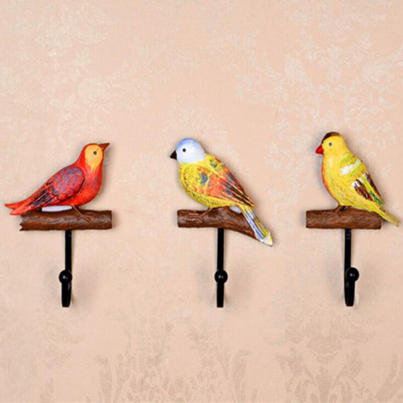3pcs/set Resin Birds Designs Coat & Hat Clothes Wall Hooks Hangers Durable Towel Wall Hanging Decoration for Home Bathroom 14x11x4cm