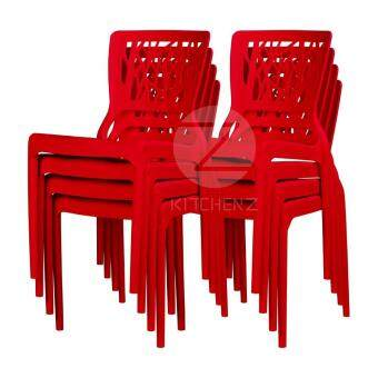 3V Modern Stackable Dining Plastic Chair IZ-701 Red - 8 Pcs