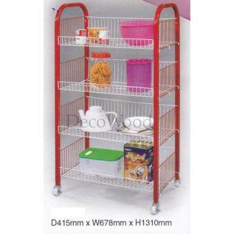 4-Layer Kitchen Rack With Lockable/Dishes Rack/Bowl Rack/CupRack/Cutlery Rack/Plate Rack/Metal Rack/Kitchen Rack/SinkRack/Cooking Rack/Pantry Rack/Rak Dapur/Rak Masak (Random Colour)Pre Order 1 Week L678MM X W415MM X H1310MM