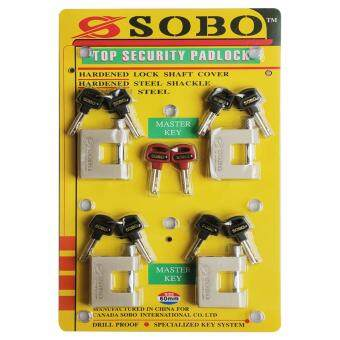 Harga (4 PCS) SOBO 60mm Heavy Duty Brass Pillar With Anti Rust StainlessSteel Anti Cut Outdoor Square Padlock Keyed Alike with Master KeySet