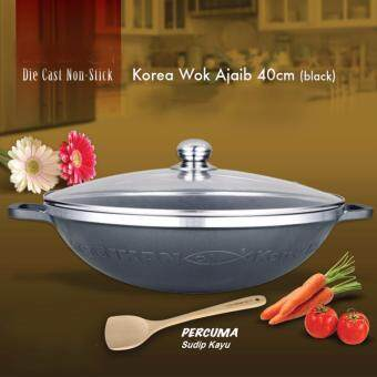 Harga 40 cm Die Cast Non-Stick Korea Wok (Black)