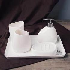 4pcs ceramic bathroom accessories set bathroom dispenser set washroom set