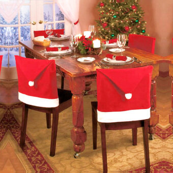 4Pcs Santa Red Hat Chair Back Covers Red Hat Lovely Home Decorchristmas Decoration For Dining Room