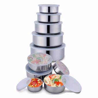 5 In 1 Stainless Steel Food Container Crisper Sets RefrigeratorCrisper Storage Box Mixing Bowls Airtight Lids Preserving Box