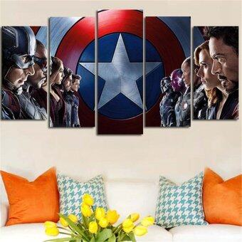 Harga 5 Panel HD Wall Art Painting Captain America Modern Home DecorModular Tableau Canvas Art Picture Poster For Living Room withoutFrame