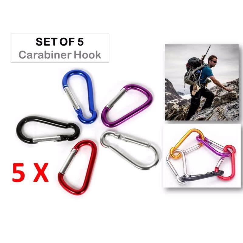 5 X Aluminium Carabiner Outdoor Durable Climbing Hiking Hook Keychain