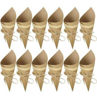 Harga 50 PCS Retro Kraft Paper Cones Bouquet Candy Chocolate Bags BoxesWedding Party Gifts Packing with Hemp Ropes Label Stickers TapeBrown