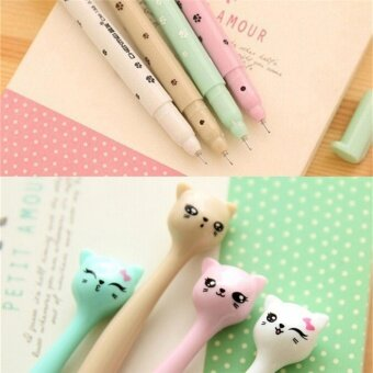 Harga 5pcs Cute Cat Random Kawaii Fun pens black Gel ink Roller BallPoint Pen Set Random