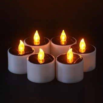 6 pcs/lot Tanbaby LED Solar Candle Lantern Tea Light Candles LampUnscented Tealights for Party