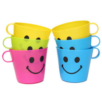 Harga 6 Plastic Colorful Happy Smiley Mugs Cups With Handle Home PartyTravel Camping