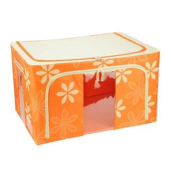 66L Large Oxford Cloth Dual Opening Foldable Spring Blossom Storage Box(Orange)