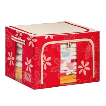 66L Large Oxford Cloth Dual Opening Foldable Spring Blossom Storage Box(Red)