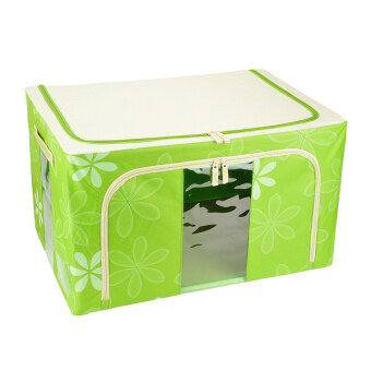 66L Large Oxford Cloth Dual Opening Foldable Spring Blossom StorageBox(Green)
