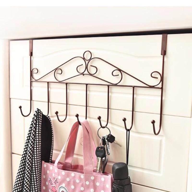 7 Hooks Bathroom Bedroom Kitchen Towel Coat Clothes Hat Bag Over Door Hanger Hook