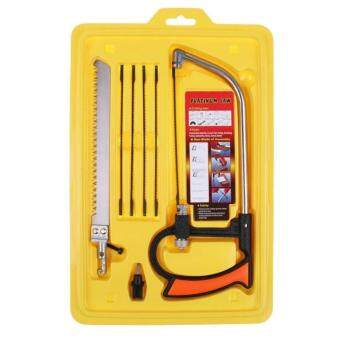 Harga 8 in 1 Magic Saw Hand DIY Mental Wood Glass Kit 6 Blades Tool for Wood