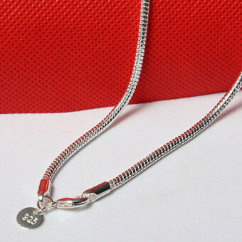 Harga 925 Sterling Solid Silver 3mm Snake Chain Necklace for XMASBirthday Gift 20''