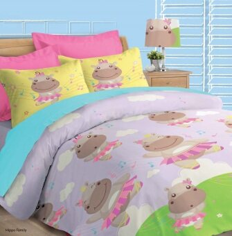 Akemi Fantasia Super Single Fitted Sheet Set (Dancing Hippo)