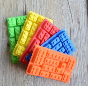 ALEVIN-Creative Colorful Toy Brick Shape Silicone Cake MoldChocolate Ice Tray Cube Mould
