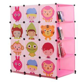 Harga Alpha Living 12 Cubes Pink Colour Design Wardrobe with 4 Corner Shelf and Two Hangers