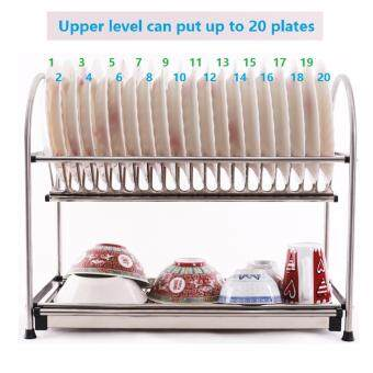 Alpha Living 2-Layer High Quality Stainless Steel Dish Drainer Two Tier Kitchen Storage Drying Draining Rack (KTN0015BG)