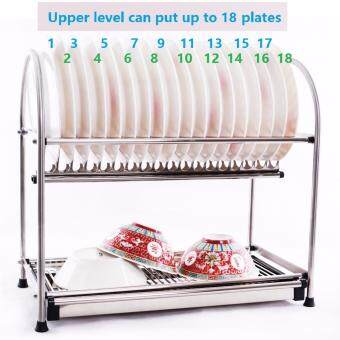 Alpha Living 2-Layer High Quality Stainless Steel Dish Drainer Two Tier Kitchen Storage Drying Draining Rack (KTN0015MD)