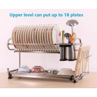 Alpha Living Stainless Steel 2-Layer Dish Drainer Two Tier Kitchen Storage Drying Draining Rack with Chopsticks and Knife Holder (KTN0087MD)