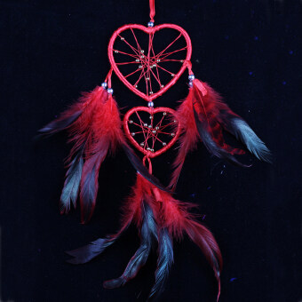 Amart Heart Dream Catcher Wind Chime Home Decoration Feathers Car Wall Hanging Decor Ornament(Red)