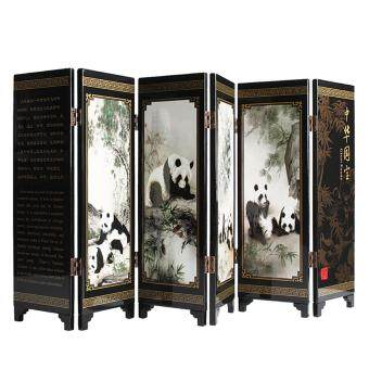 Andux Small Wooden 6-leaf Folding Screens Art Screens FGPF-01(Panda)