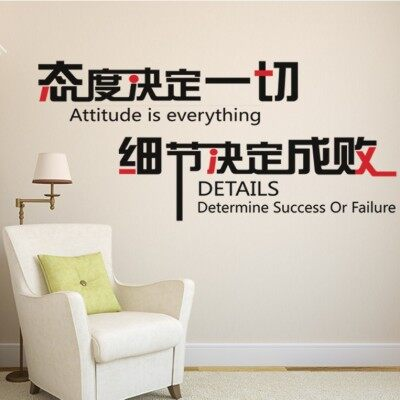 Attitude details success or failure creative company businessoffice culture background wall inspirational can remove wallstickers