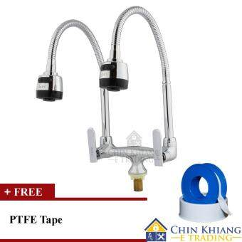 Axes 8300TFI Pillar Mounted Flexible Double Kitchen Sink Water Tap ...