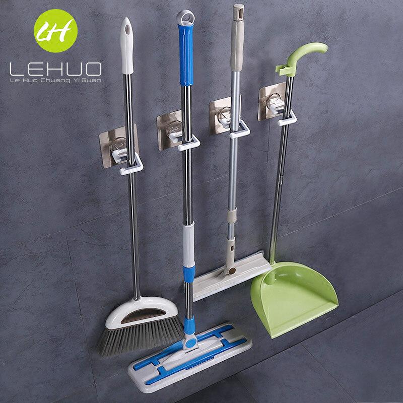 Buy Bathroom broom wall punched adhesive hook mop rack Malaysia