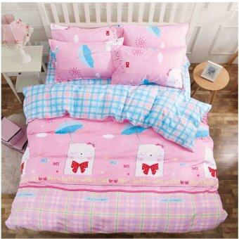 bed sheet set with quilt cover 800 thread count cute design pink