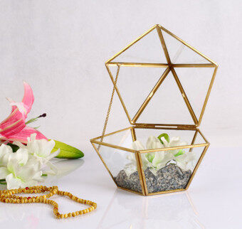 Harga Big Five Angle geometric body Glass Greenhouse bronze color retrojewelry box eternal life flower gift containers