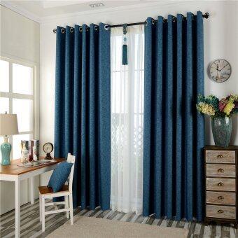 Blue European Window Curtains For Living Room Door Panel Blackout Sheer 100x130cm