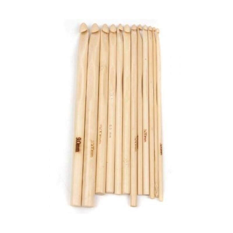 Buy BolehDeals  12 Sizes Bamboo Crochet Hooks Knitting Needles 3.0-10mm Malaysia