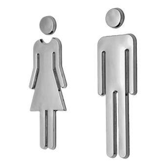 Harga BolehDeals Man&Woman WC Decals Toilet Signs Restroom WashroomSignage Plaque Silver