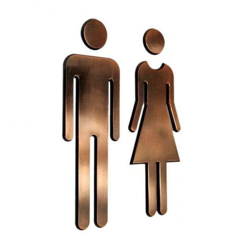 Buy BolehDeals Man&Woman WC Stickers Toilet Signs Restroom Washroom Signage Plaque Bronze Malaysia