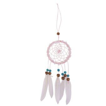 BolehDeals Pink Dream Catcher With White Feathers Charm Pendant Home Car Hanging Decor