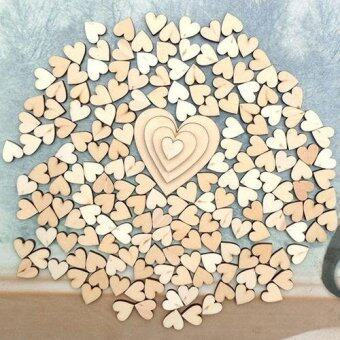Harga Broadfashion 100Pcs 4Sizes Mixed Wood Wooden Love Heart WeddingTable Scatter Decor DIY Craft