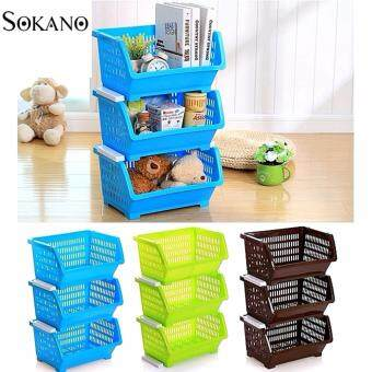 Bundle Set of 3: SOKANO KR001 Stackable and Space Saving Food Safety Storage Bin (Blue) - 2